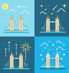 Flat design 4 styles of tower bridge uk vector