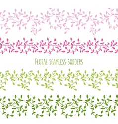 Floral seamless borders with branches and leaves vector