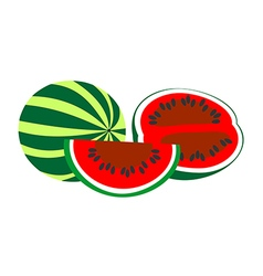 Watermelon whole and sliced vector