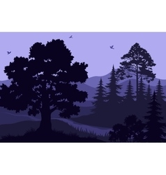 Landscape trees mountains and birds vector