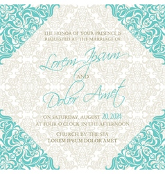 Invitation blue damask vector