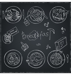 hand drawn breakfast set Vintage vector image
