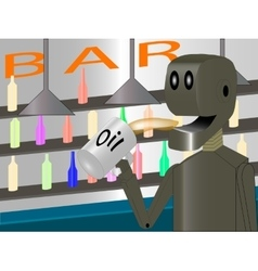 Robot at the bar drinking oil vector