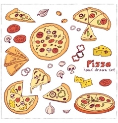 hand drawn set with pizza vector image