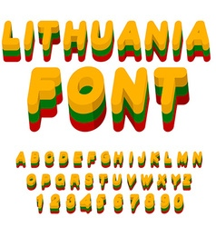 Lithuania font Lithuanian flag on letters National vector image