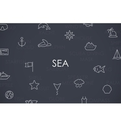 Sea thin line icons vector