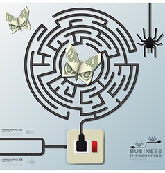 Maze spider web with money butterfly electric wire vector