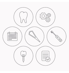 Dental implant tooth and tweezers icons vector