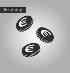Black and white style icon euro cents vector