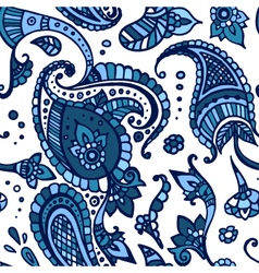 Blue colored paisley seamless pattern hand drawn vector