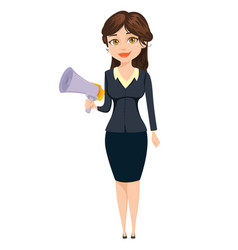 businesswoman standing with speaker cute cartoon vector image vector image