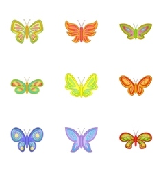 Butterfly insect icons set cartoon style vector image