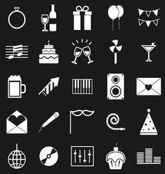 Celebration icons on black background vector image