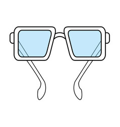 Color silhouette image glasses with lens vector
