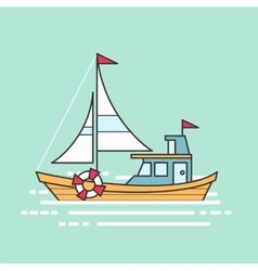 Cool line art flat design boat web icon vector