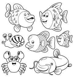 Fishs black and white collection vector image vector image