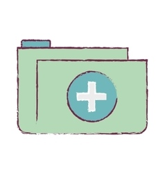Folder medical blurred with shape croos vector