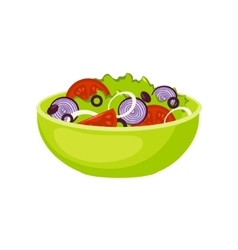 Fresh Salad Breakfast Food Element Isolated Icon vector image vector image