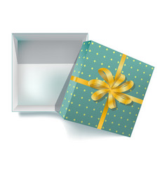Gift box with ribbon bow and open cover 3d vector