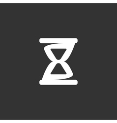 Hourglass logo on black background icon vector image