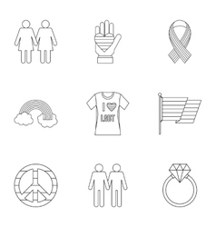 LGBT icons set outline style vector image