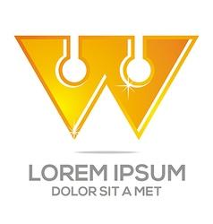 Logo letter w alphabet gold vector