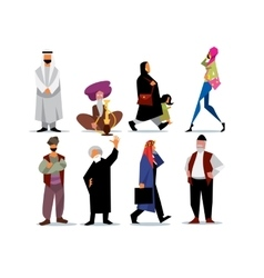 middle eastern people isolated on white vector image vector image