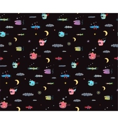 Monster sky flying fish seamless pattern for kids vector