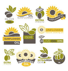 Olive and sunflower oil extra virgin flat logotype vector