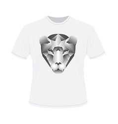 Polygonal head of tiger on white t-shirt in vector image