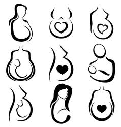 Pregnant woman symbol set vector image vector image