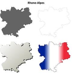 Rhone-alpes blank detailed outline map set vector