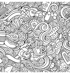 Seamless doodles abstract fast food pattern vector image