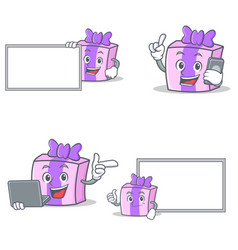 Set of gift character with board phone laptop vector