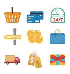 Shopping icon set flat style shop icons vector