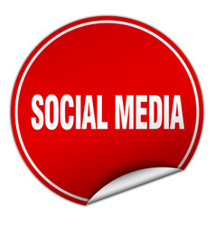 Social media round red sticker isolated on white vector