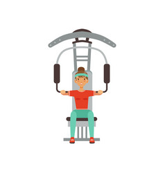 Sportive young woman character flexing muscles on vector