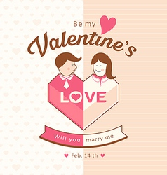 Valentines man and woman love design vector