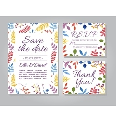 Wedding invitation card set with floral vector