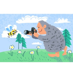yeti photographer vector image