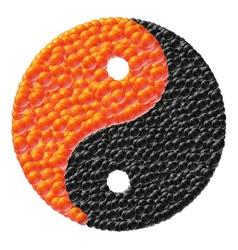 yin and yang made of caviar vector image