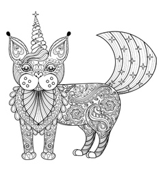 zentangle magic cat unicorn black print vector image vector image