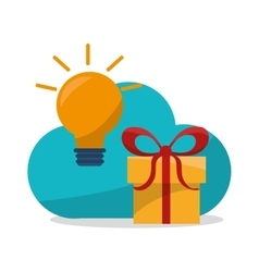 Gift bulb cloud and shopping design vector
