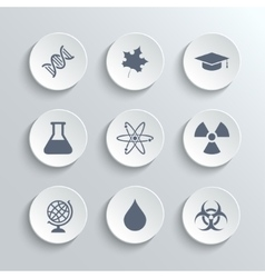 Science icons set - white round buttons vector