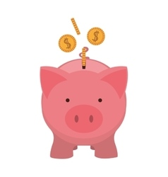 pink piggy bank with dollar coins vector image