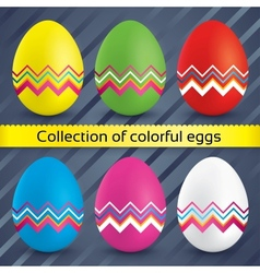 Happy easter colorful eggs collection vector