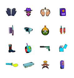 spy comics icons set cartoon vector image