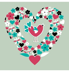 Cute social bird love vector