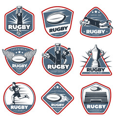 Colored vintage rugby labels set vector