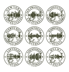 Grunge rubber stamps with new york san francisco vector